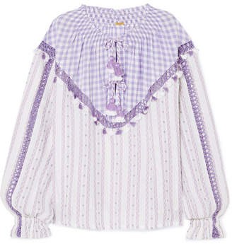 Dodo Bar Or Tasseled Cotton-jacquard And Poplin Blouse - Lavender