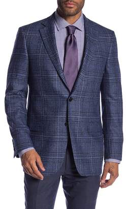 Hart Schaffner Marx Medium Blue Plaid Two Button Notch Lapel Classic Fit Blazer