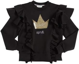Fendi Queen Ruffled Techno Sweatshirt