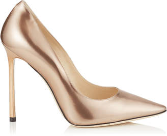 e3349dad14ac Jimmy Choo ROMY 110 Ballet Pink Liquid Mirror Leather Pointy Toe Pumps