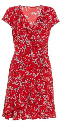 Quiz Red And Cream Wrap Frill Detail Dress