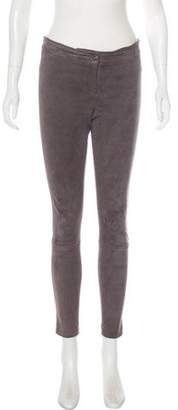 L'Agence Suede Mid-Rise Skinny Pants