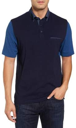 Thomas Dean Colorblock Button Down Polo