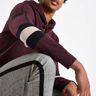 River Island Burgundy slim fit color block sleeve hoodie
