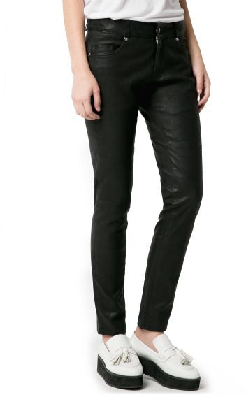 MANGO Outlet Slim-Fit Leather Trousers
