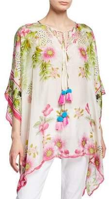 Johnny Was Plus Size Galore Floral-Print Silk Georgette Caftan Top w/ Pom Pom Ties