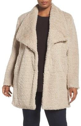 Plus Size Women's Kenneth Cole New York Faux Fur Drape Collar Coat $180 thestylecure.com
