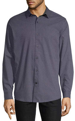 Claiborne Long Sleeve Pattern Button-Front Shirt