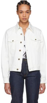 Calvin Klein White Denim Double Disaster Jacket