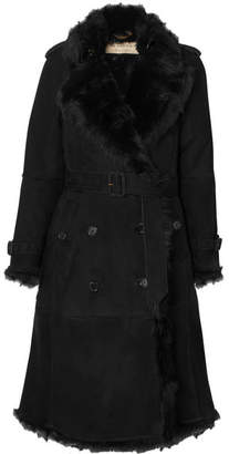 Burberry The Tolladine Shearling Trench Coat - Black
