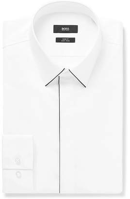 HUGO BOSS White Ivan Slim-Fit Piped Cotton-Poplin Shirt