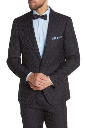 Paisley & Gray Regent Navy with Black Circle Pattern One Button Shawl Lapel Slim Fit Tuxedo Jacket