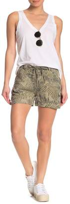 Democracy Palm Print High Waisted Utility Shorts
