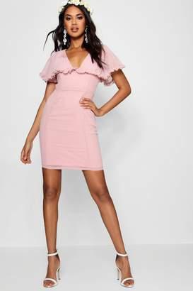 boohoo Boutique Ruffle Cape Mini Dress