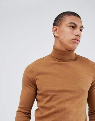 New Look roll neck sweater in camel