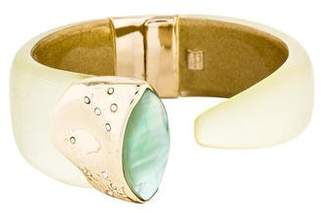 Alexis Bittar Crystal, Quartz & Mother of Pearl Doublet Hinged Cuff