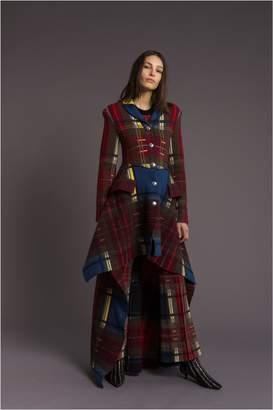 Sonia Rykiel Asymmetrical Tartan Merino Wool Coat