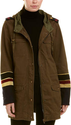 Blank NYC Embroidered Sleeve Wool-Blend Parka Jacket