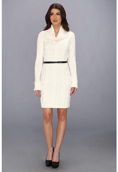 Calvin Klein L/S Cable Knit Cowl Neck Sweater Dress