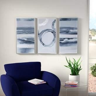Mercury Row 'Gray Surrounding' 3 Piece Framed Graphic Art Print Set on Wood