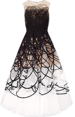 Oscar de la Renta Appliquéd Tulle And Tweed Gown - Black
