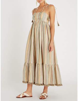 Zimmermann Juniper tasselled-hem striped cotton-blend midi dress