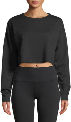 Alo Yoga Fierce Distressed Crewneck Cropped Pullover Sweatshirt