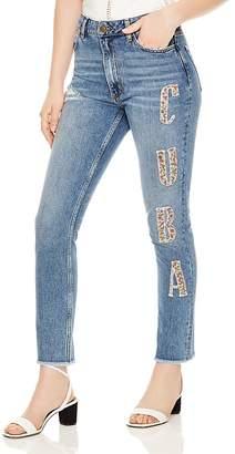 Sandro Ethel Fringed-Hem Cuba Graphic Jeans