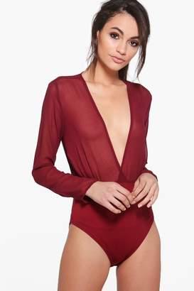 boohoo Emma Wrapover Long Sleeve Woven Bodysuit