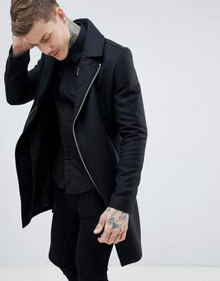 Religion wool biker coat in black