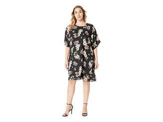 Vince Camuto Specialty Size Plus Size Dolman Sleeve Floral Story Dress
