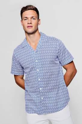boohoo Mini Print Short Sleeve Revere Shirt
