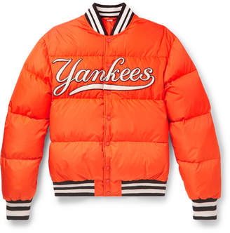 Gucci + New York Yankees Appliqued Quilted Shell Down Jacket