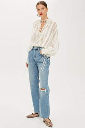 Topshop Mid Blue Ripped New Boyfriend Jeans