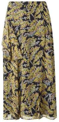 LK Bennett Kimi Blue Yellow Silk Skirt