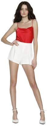 Alice + Olivia White Larissa Pleated Shorts