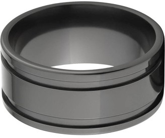 Generic 10mm flat Black Zirconium ring with two grooves in a high polish