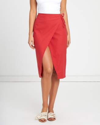 Atmos & Here ICONIC EXCLUSIVE - Bee Linen Blend Wrap Skirt