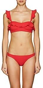 Suboo Women's Ruffle Waffle-Knit Bikini Top - Red