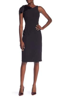 London Times Dream Tie Shoulder Sheath Dress