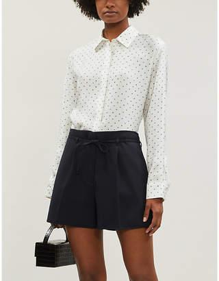 Theory Dotted boyfriend-fit silk-satin shirt
