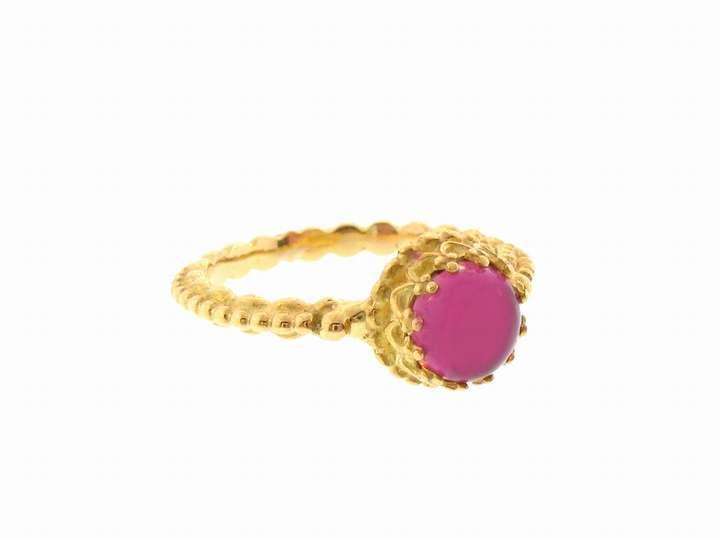 Tiny Pink Tourmaline Stacking Ring in 14 Karat Gold