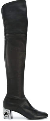 Casadei chain-embellished heel boots