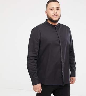 Asos Design DESIGN Plus regular fit shirt with grandad collar & popper in black