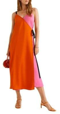 MANGO Bow Bicolor Surplice Dress