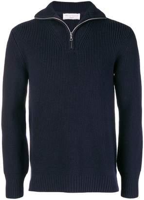 Officine Generale zip neck ribbed sweater
