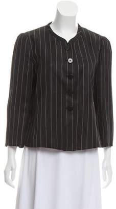 Armani Collezioni Mandarin Collar Stripe Jacket