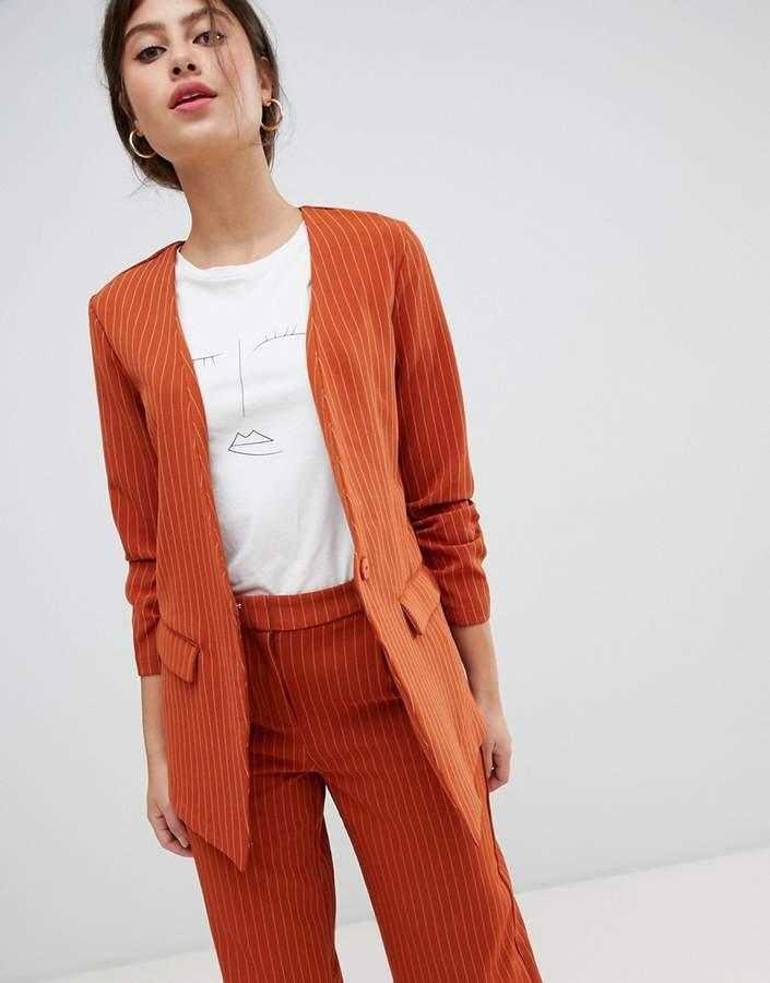 pin stripe ruche sleeve tailored jacket