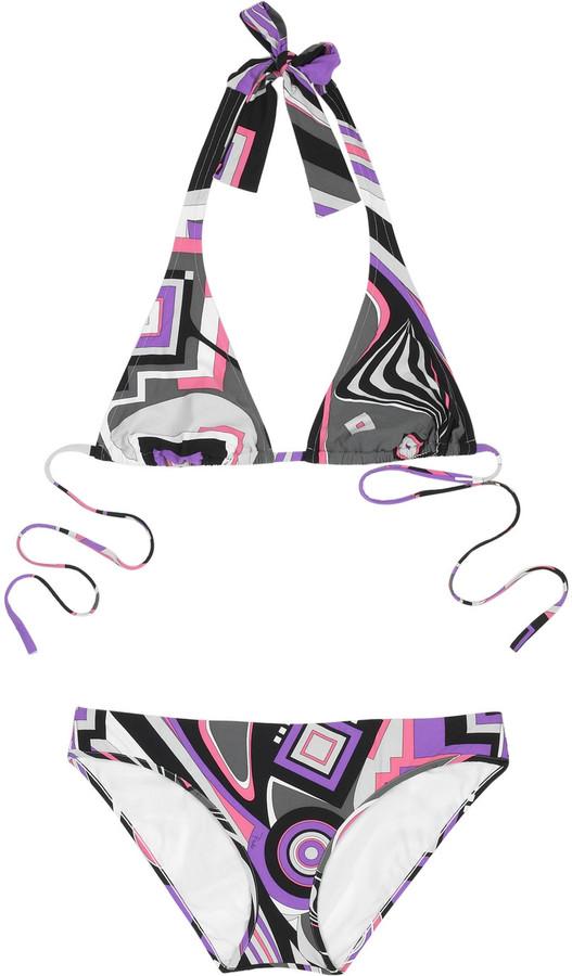 Emilio Pucci Printed halter bikini