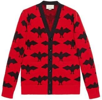 Gucci Bat jacquard knitted cardigan